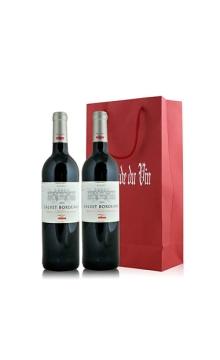 考维酒园波尔多干红葡萄酒双支礼袋装