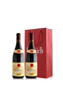 吉佳乐世家罗纳山麓法定产区红葡萄酒双支礼袋装