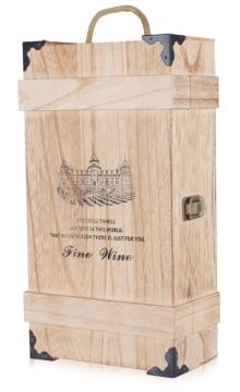 双支烧色包角酒盒