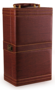 仿红木纹皮质双支礼盒(带酒具)