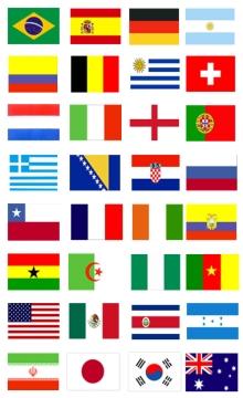 世界杯球迷脸贴纹身贴纸-国旗贴纸